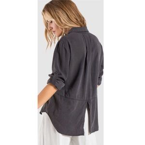 Cloth + Stone Anthro Black Split Back Shirt Blouse
